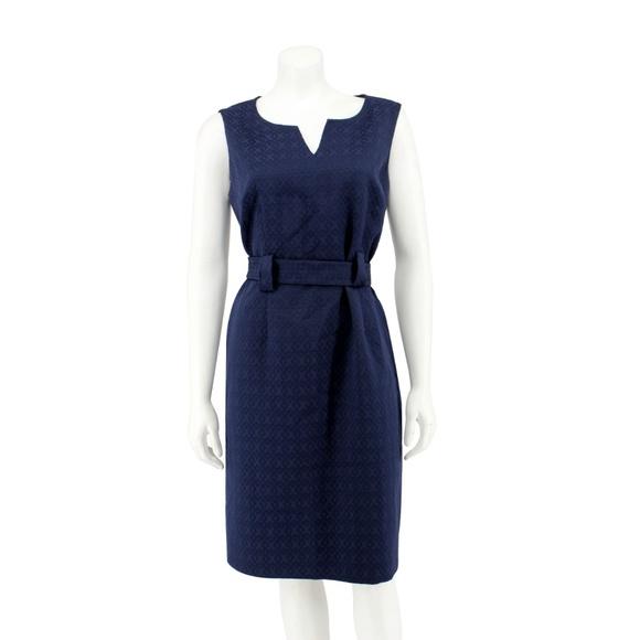 Jones New York Dresses & Skirts - Jones New York Blue Textured Woven Belted Dress